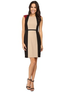 Tahari by ASL Tri-Tone Color Block Crepe Sheath
