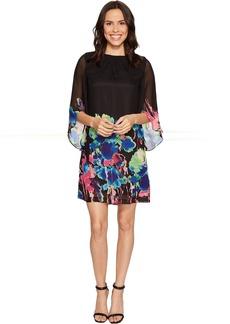 Tahari by ASL Tulip Sleeve Floral Print Chiffon Shift Dress