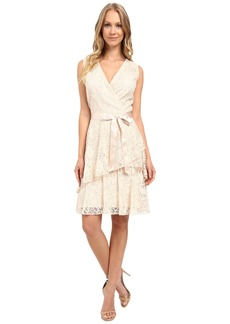 Tahari by ASL V-Neck All Over Lace Dress w/ Tiered Skirt