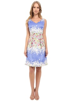 Tahari by ASL V-Neck Sleeveless Fit-and-Flare Floral Print Dress