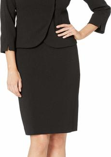 Tahari ASL Women's Pebble Crepe Skirt Suit with Bow Detail