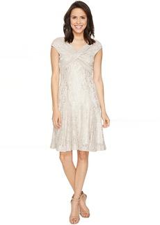 Tahari by ASL Wrap Bodice Stretch Lace Dress