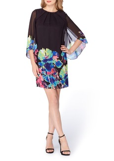 Tahari Cape Sleeve Shift Dress