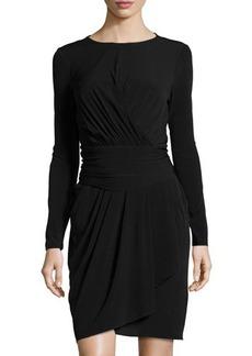 Tahari Celine Long-Sleeve Asymmetric Ruched Dress