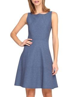 Tahari Chambray Fit & Flare Dress (Petite)