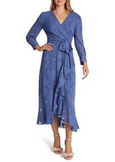 Tahari Chiffon Clip Long Sleeve Faux Wrap Maxi Dress