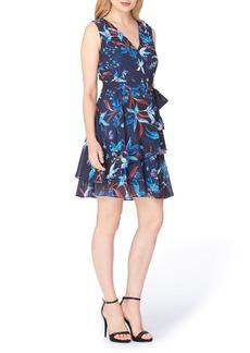 Tahari Chiffon Faux Wrap Dress (Regular & Petite)