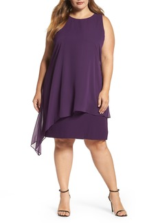 Tahari Chiffon Overlay Shift Dress (Plus Size)