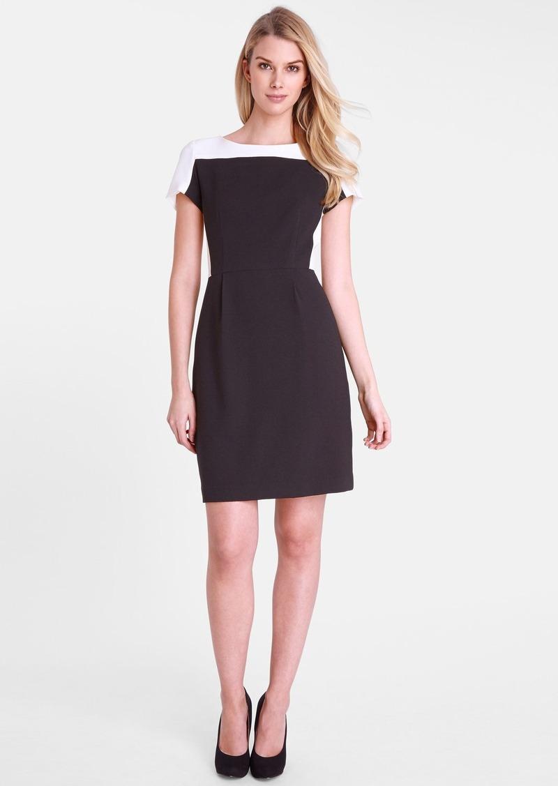 Tahari Colorblock Crepe Sheath Dress (Petite)