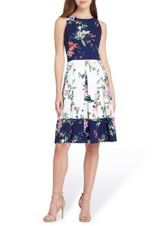 Tahari Colorblock Floral Crepe Fit & Flare Dress