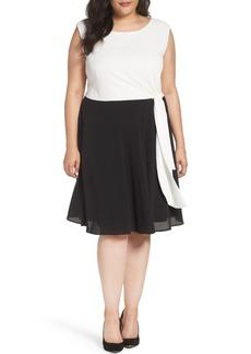 Tahari Colorblock Side Tie Fit & Flare Dress (Plus Size)