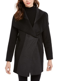 Tahari Colorblocked Wrap Coat