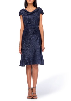 Tahari Cowl Neck Fit & Flare Dress