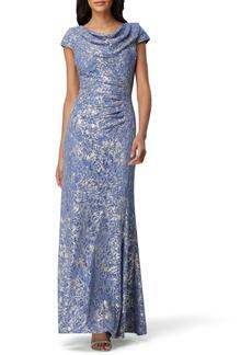 Tahari Cowl Neck Metallic Lace Gown