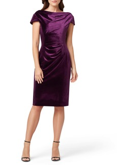 Tahari Cowl Neck Velvet Sheath Dress