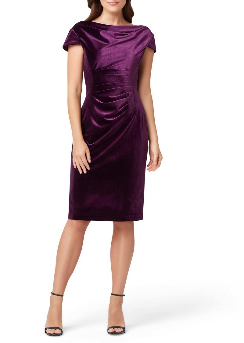 Tahari Cowl Neck Velvet Sheath Dress