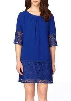 Tahari Crepe & Lace Shift Dress