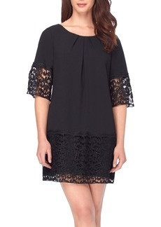 Tahari Crepe & Lace Shift Dress (Petite)