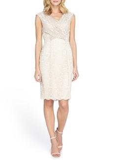 Tahari Cross Front Lace Sheath Dress (Regular & Petite)