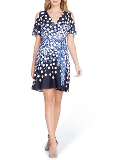 Tahari Dot Cold Shoulder Faux Wrap Dress (Regular & Petite)