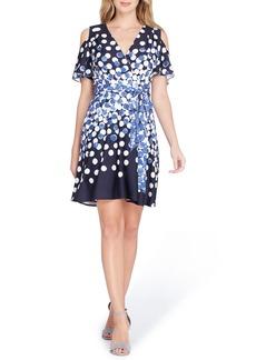 Tahari Dot Cold Shoulder Faux Wrap Dress (Regular & Petite)