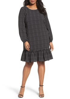 Tahari Dot Crepe Flounce Hem Shift Dress (Plus Size)