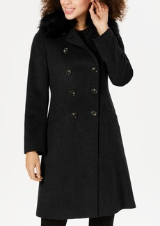 Tahari Double-Breasted Faux-Fur-Collar Coat