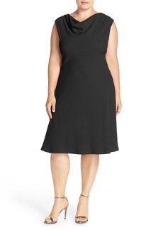 Tahari Drape Neck Jersey Fit & Flare Dress (Plus Size)