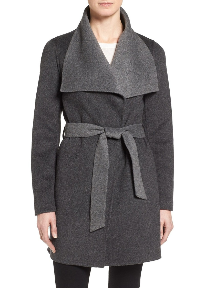 Tahari 'Ella' Belted Two-Tone Double Face Wool Blend Wrap Coat (Regular & Petite)