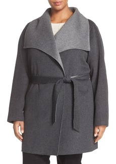 Tahari 'Ella' Belted Two-Tone Wool Blend Wrap Coat (Plus Size)
