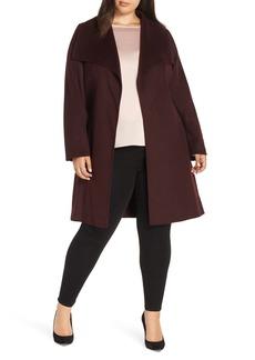 Tahari Ellie Double Face Wool Blend Wrap Coat (Plus Size)