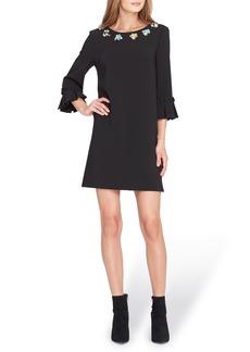 Tahari Embellished Bell Sleeve Shift Dress (Regular & Petite)