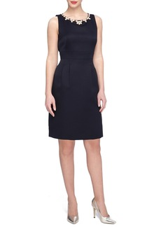 Tahari Embellished Faille Sheath Dress (Regular & Petite)