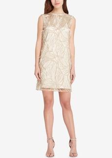 Tahari Embellished Feather-Trim Dress