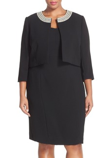 Tahari Embellished Neck Crepe Jacket Dress (Plus Size)