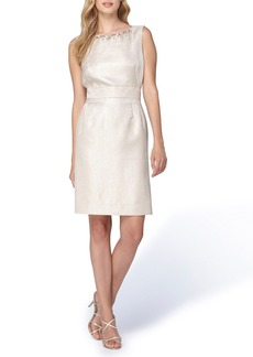 Tahari Embellished Neck Jacquard Sheath Dress (Regular & Petite)