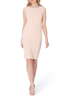 Tahari Embellished Scuba Sheath Dress