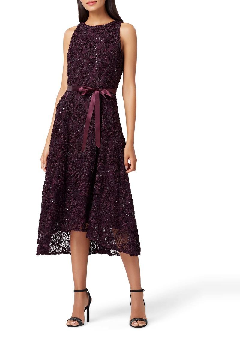 Tahari Embellished Soutache Fit & Flare Dress