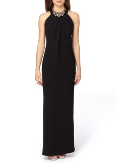 Tahari Embellished Stretch Crepe Column Gown
