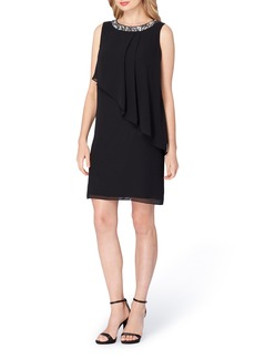 Tahari Embellished Tiered Shift Dress