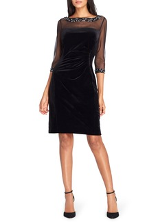 Tahari Embellished Velvet Sheath Dress