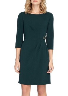 Tahari Embellished Waist Crepe Sheath Dress (Regular & Petite)