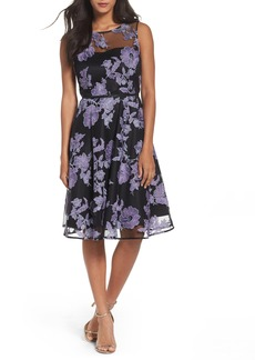 Tahari Embroidered A-Line Dress
