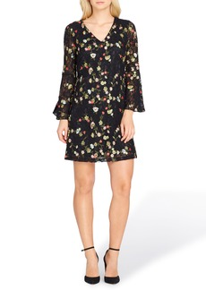 Tahari Embroidered Bell Sleeve Shift Dress