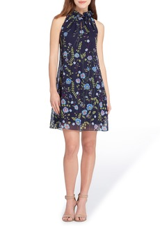 Tahari Embroidered Chiffon Shift Dress