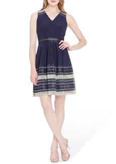 Tahari Embroidered Fit & Flare Dress (Petite)