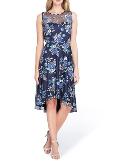 Tahari Embroidered Floral High/Low Dress (Regular & Petite)