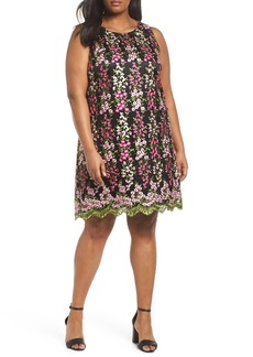 Tahari Embroidered Floral Shift Dress (Plus Size)