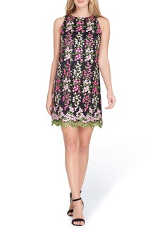 Tahari Embroidered Floral Shift Dress (Regular & Petite)