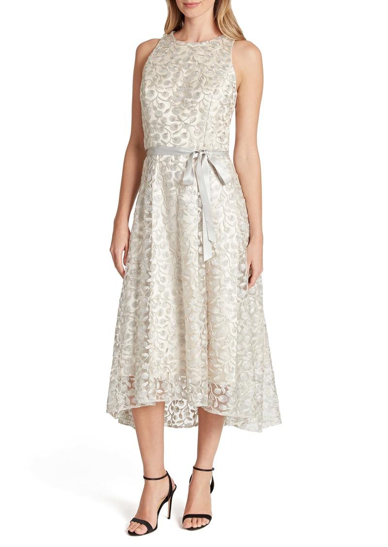 Tahari Embroidered Lace Midi Dress